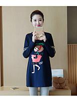 preiswerte -Damen Druck Anspruchsvoll Lässig/Alltäglich T-shirt,Rundhalsausschnitt Langarm Baumwolle