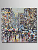 cheap -Hand-Painted Landscape Square,Comtemporary Simple Modern Canvas Oil Painting Home Decoration One Panel