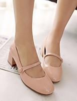 preiswerte -Damen Schuhe PU Frühling Herbst Komfort High Heels Blockabsatz für Normal Weiß Schwarz Rot Hautfarben