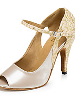 cheap -Women's Latin Leatherette Sandal Sneaker Indoor Practice Trim Stiletto Heel Almond Customizable