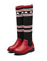 cheap -Girls' Shoes Synthetic Microfiber PU Winter Fall Comfort Fashion Boots Boots Knee High Boots for Casual Red Black