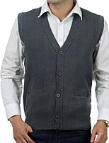 cheap -Men's Daily Solid V Neck Cardigan,Sleeveless Spring Wool Blend