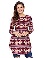 preiswerte -Damen Druck Street Schick Alltag Festtage Hemd,Rundhalsausschnitt Winter Langärmelige Polyester Elasthan Undurchsichtig