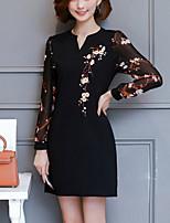preiswerte -Damen Bodycon Kleid-Arbeit Ausgehen Sexy Street Schick Druck Patchwork V-Ausschnitt Mini Langärmelige Polyester Frühling Mittlere Hüfthöhe