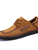 cheap -Men's Shoes Cowhide Spring Summer Comfort Oxfords for Casual Office & Career Black Yellow Khaki