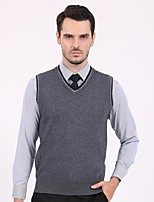 cheap -Men's Daily Casual Solid V Neck Vest, Sleeveless Winter Fall Polyester