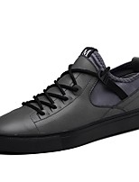 cheap -Men's Shoes Real Leather Cowhide Winter Fluff Lining Driving Shoes Comfort Sneakers for Casual Office & Career Gray Black