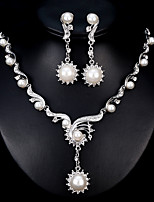cheap -Women's Jewelry Set Rhinestone Fashion European Wedding Daily Pearl Alloy Geometric 1 Necklace Earrings