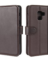 cheap -Case For Samsung Galaxy A8 Plus 2018 A8 2018 Card Holder Wallet with Stand Flip Magnetic Full Body Solid Color Hard Genuine Leather for