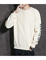 cheap -Men's Daily Going out Sweatshirt Solid Round Neck Micro-elastic Polyester Long Sleeve Winter Spring/Fall