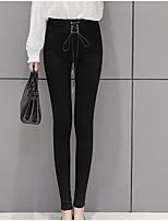 preiswerte -Damen Mittel Baumwolle Solide Einfarbig Legging,Schwarz