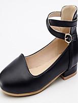 baratos -Mulheres Sapatos Courino Primavera Outono Conforto Inovador Rasos Sem Salto Ponta Redonda Presilha para Casual Social Branco Preto Rosa