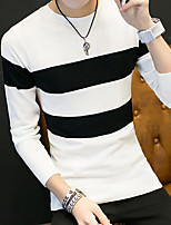cheap -Men's Daily Going out Casual Street chic Striped Round Neck Sweater Pullover, Long Sleeves Spring Cotton