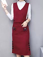 Недорогие -Для женщин На выход Осень Вязаная ткань Платья Костюмы Хомут,Простой Однотонный Длинный рукав,Хлопок