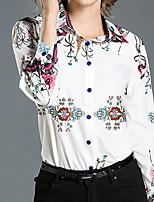 Недорогие -Для женщин Повседневные Весна Осень Рубашка Рубашечный воротник,На каждый день Цветочный принт Длинные рукава,Полиэстер,Плотная