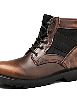 cheap -Unisex Shoes Real Leather Winter Fall Cowboy / Western Boots Fashion Boots Combat Boots Boots Booties/Ankle Boots for Casual Outdoor Wine