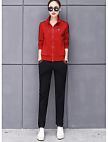 cheap -Women's Casual/Daily Simple Fall Hoodie Pant Suits,Embroidery Stand Long Sleeves Cotton Polyester