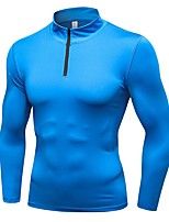 cheap -Men's Running Baselayer Long Sleeves Breathability Sweatshirt for Exercise & Fitness Outdoor Exercise Running Polyester Black Blue Grey