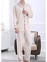 abordables -Costumes Pyjamas Homme Moyen Coton Beige Gris Clair