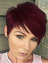 Недорогие -Человеческие волосы без парики Натуральные волосы Прямой Стрижка под мальчика С чёлкой Боковая часть Короткие Машинное плетение Парик