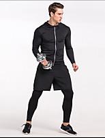 cheap -Men's Running T-Shirt Long Sleeves Fast Dry Sweatshirt for Volleyball Running Polester/Cotton Blend Silver Black Grey M L XL XXL