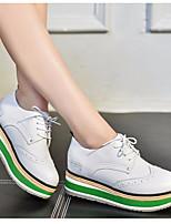 preiswerte -Damen Schuhe Leder Frühling Herbst Komfort Outdoor Creepers für Normal Weiß Schwarz