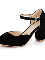 cheap -Women's Shoes Nubuck leather Spring Fall Comfort Novelty Heels Chunky Heel Round Toe Bowknot Buckle for Office & Career Party & Evening