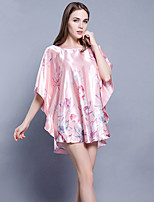 abordables -Satin & Soie Ultra Sexy Pyjamas Femme,Fleur Opaque Fin Polyester Rose Claire