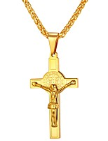 cheap -Men's Women's Cross Hiphop Cool Pendant Necklace , Stainless Steel Pendant Necklace , Daily