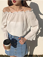 cheap -Women's Casual/Daily Street chic Shirt,Solid Bateau Long Sleeves Cotton