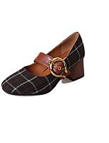 Недорогие -Жен. Обувь Ткань Весна Удобная обувь Обувь на каблуках На толстом каблуке Круглый носок для Повседневные Черный Хаки