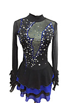 cheap -Figure Skating Dress Women's Girls' Ice Skating Dress Black Spandex Stretchy Skating Wear Sequin Long Sleeves Figure Skating