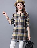 economico -T-shirt Da donna Quotidiano Casual Autunno,Con stampe Rotonda Cotone Maniche lunghe Medio spessore