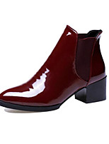 cheap -Women's Shoes Patent Leather Spring Fall Comfort Bootie Boots Chunky Heel for Casual Burgundy Black
