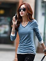 preiswerte -Damen Solide Freizeit Alltag T-shirt,V-Ausschnitt Herbst Langärmelige Baumwolle Mittel