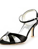 preiswerte -Damen Schuhe Seide Frühling Sommer Pumps Hochzeit Schuhe Niedriger Heel Peep Toe Strass für Hochzeit Party & Festivität Schwarz