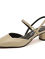 cheap -Women's Shoes Nappa Leather Spring Comfort Heels Walking Shoes Low Heel Square Toe Buckle for Casual Black Beige Yellow