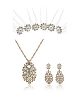 cheap -Women's Bridal Jewelry Sets Wreaths Rhinestone Fashion European Wedding Party Imitation Diamond Alloy Body Jewelry 1 Necklace Earrings