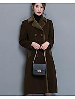 economico -Impermeabile Standard Per donna Quotidiano Vintage Inverno, Tinta unita Rotonda Cotone Acrilico A pieghe