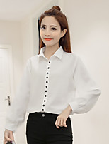 cheap -Women's Casual/Daily Active Spring/Fall Shirt,Solid Shirt Collar Long Sleeve Cotton Medium