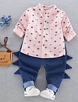 preiswerte -Jungen Kleidungs Set Alltag Druck Polyester Frühling Langärmelige Freizeit Rosa