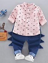 cheap -Boys' Daily Print Clothing Set,Polyester Spring Long Sleeve Casual Blushing Pink