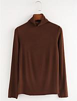 abordables -Tee-shirt Femme,Couleur Pleine Quotidien Décontracté Printemps Automne Manches longues Col Roulé Coton