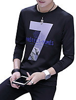 cheap -Men's Daily Going out Casual Street chic Solid Geometric Letter Round Neck Sweatshirt Regular,Long Sleeve Summer Polyester Spandex