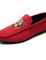 cheap -Men's Shoes Nubuck leather Spring Fall Moccasin Loafers & Slip-Ons Animal Print for Casual Black Army Green Red