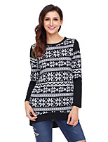 cheap -Women's Daily Holiday Street chic Winter T-shirt,Print Round Neck Long Sleeve Polyester Spandex Opaque