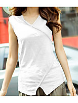 cheap -Women's Daily Casual Summer T-shirt,Solid V Neck Sleeveless Cotton