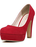 cheap -Women's Shoes PU Spring Fall Comfort Heels Stiletto Heel for Casual Black Red Blue