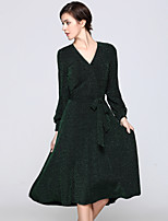 cheap -Women's Daily Going out Sophisticated Street chic A Line Sheath Swing Midi Knee-length Dress, Color Block Basic V Neck Long Sleeves