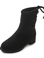 cheap -Women's Shoes PU Winter Comfort Fashion Boots Boots Flat Heel Round Toe Mid-Calf Boots for Casual Black
